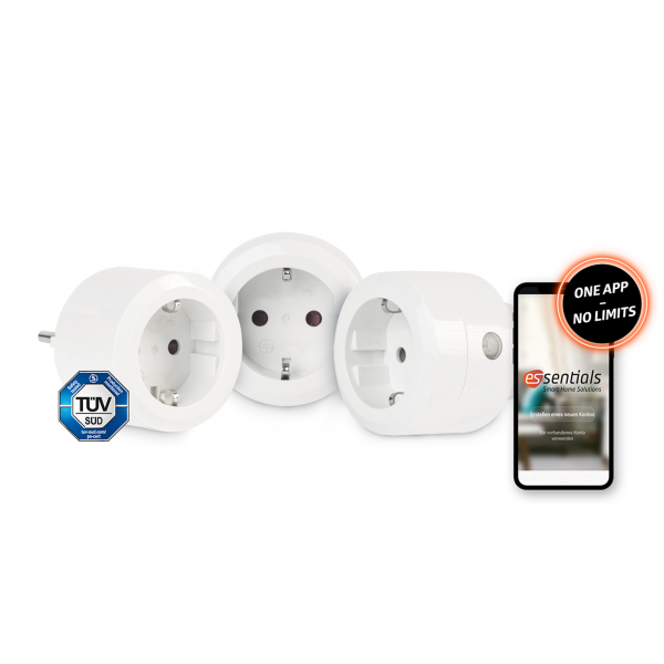 3er-Set essentials Smart Home Schaltsteckdose 10 A